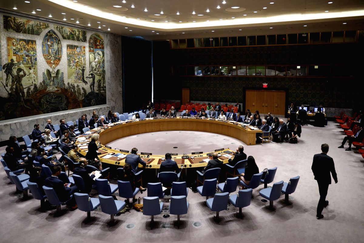 UNITED NATIONS, Sept. 21, 2019 (Xinhua) -- Photo taken on Sept. 20, 2019 shows the United Nations Security Council holding a meeting on the situation in the Middle East, including the Palestinian question, at the UN headquarters in New York. UN Speci