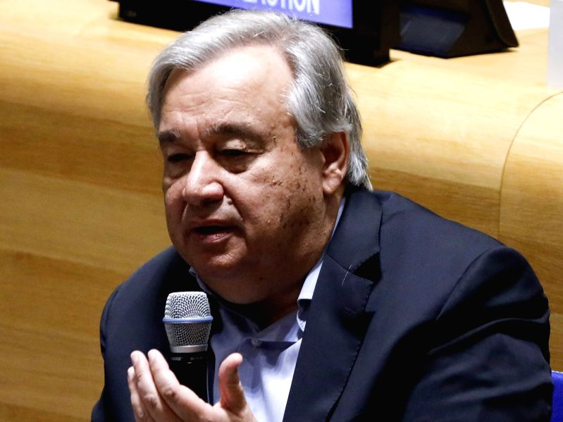 UNITED NATIONS, Sept. 21, 2019 (Xinhua) -- United Nations Secretary-General Antonio Guterres speaks during the UN Youth Climate Summit