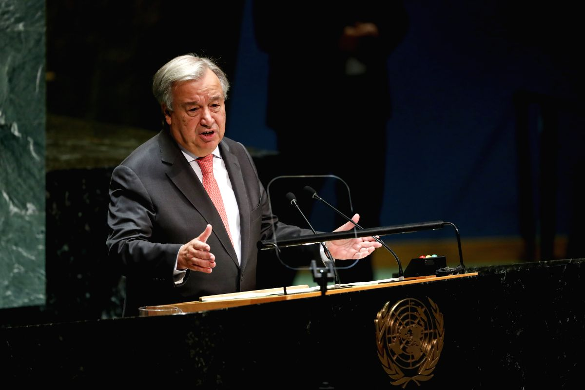 UNITED NATIONS, Sept. 24, 2019 (Xinhua) -- The United Nations (UN) Secretary-General Antonio Guterres addresses the opening of the General Debate of the 74th session of the UN General Assembly at the UN headquarters in New York, Sept. 24, 2019. (Xinh