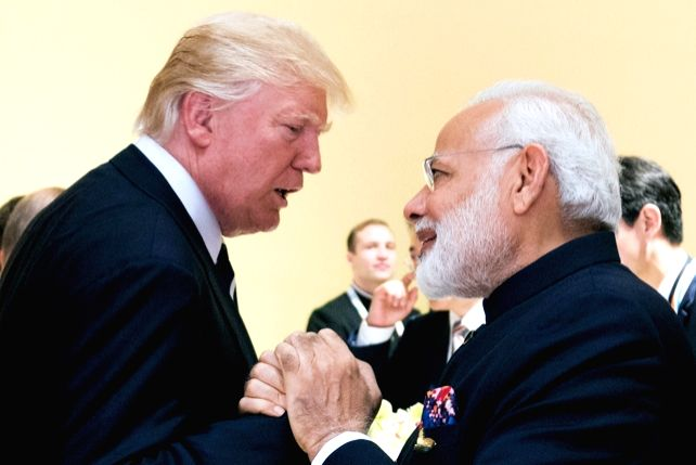 United States President Donald Trump and Prime Minister Narendra Modi at the G20 Summit in Germany in July 2017. (Photo: White House/IANS)