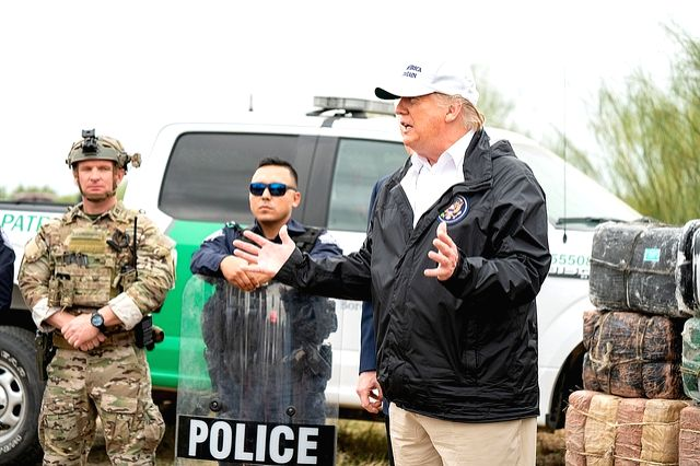 United States President Donald Trump is near the US-Mexico border in Texas on Jan. 10, 2019, during a visit to drum up support for his plans for a border wall to stop illegal immigrants and smugglers. The Democrats in Congress have refused to fund th