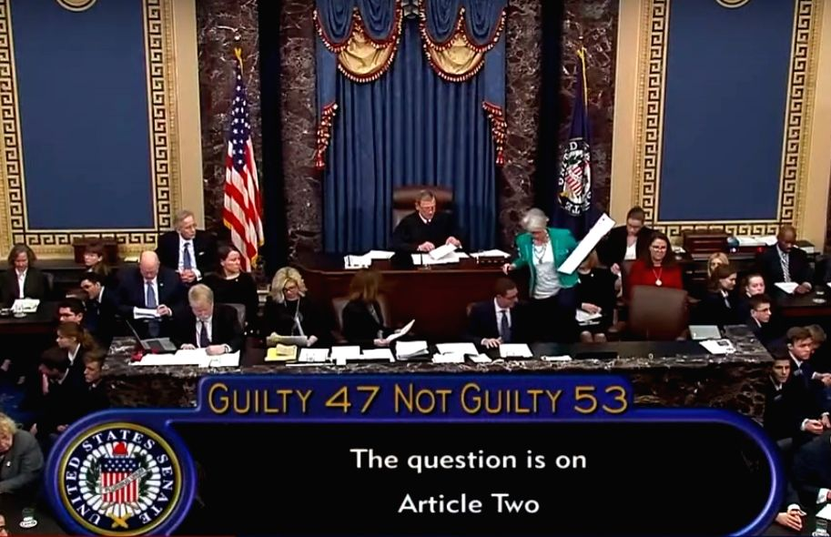 United States Supreme Court Chief Justice John Roberts, who presided over the Senate impeachment trial of President Donald Trump announces the votes tally to acquit him on Wednesday, February 5, 2020. (Photo: Senate video).