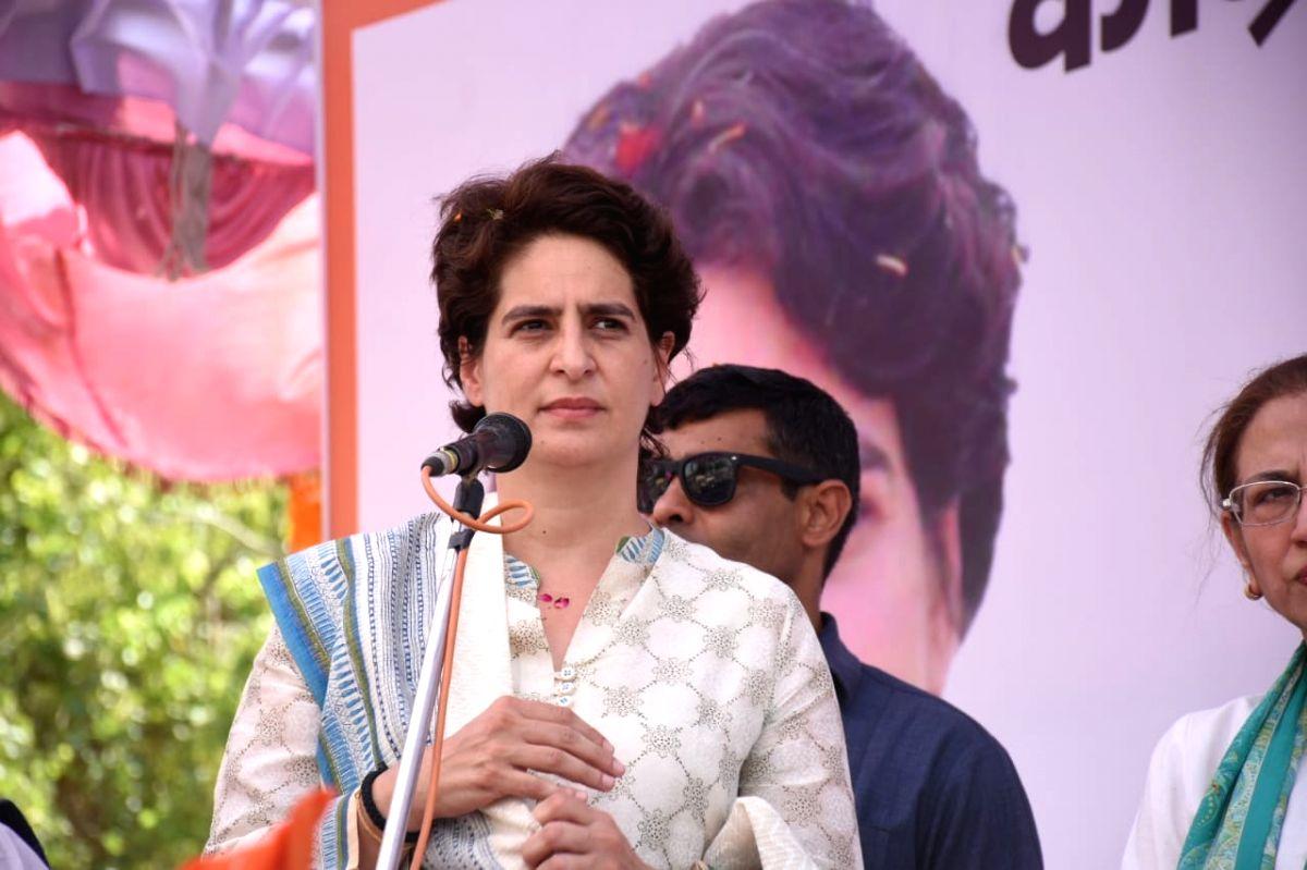 Unnao: Congress General Secretary (Uttar Pradesh East) Priyanka Gandhi Vadra during a public rally organised ahead of the 2019 Lok Sabha elections, in Uttar Pradesh's Unnao on April 27, 2019.