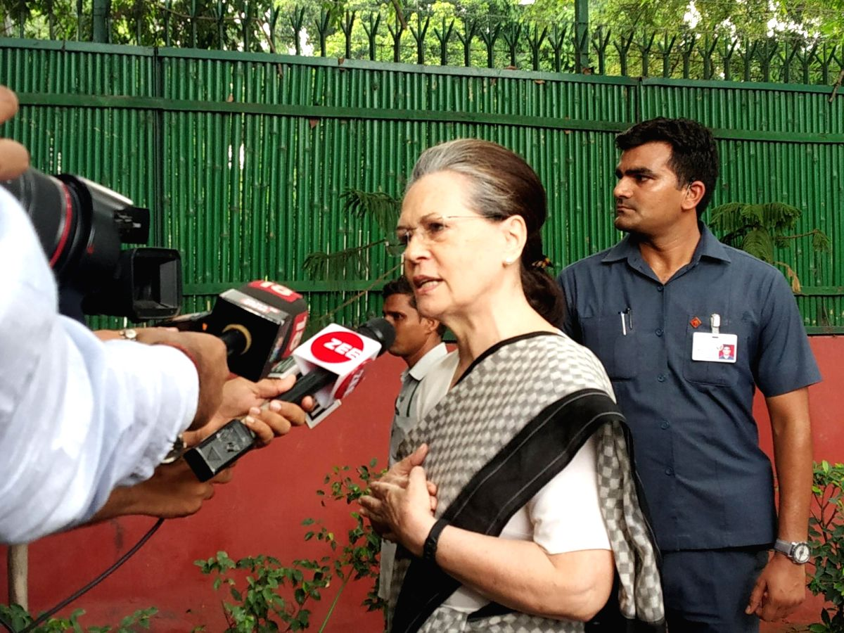 UPA Chairperson Sonia Gandhi at Congress headquarters