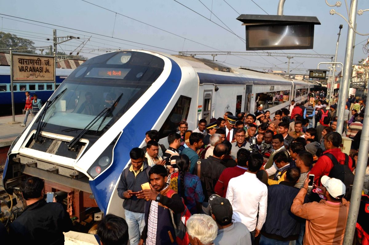 Varanasi: India's first locomotive-less train – the Vande Bharat Express – also known as Train 18, arrives at Varanasi Junction railway station during a test run from New Delhi, on Feb 2, 2019.