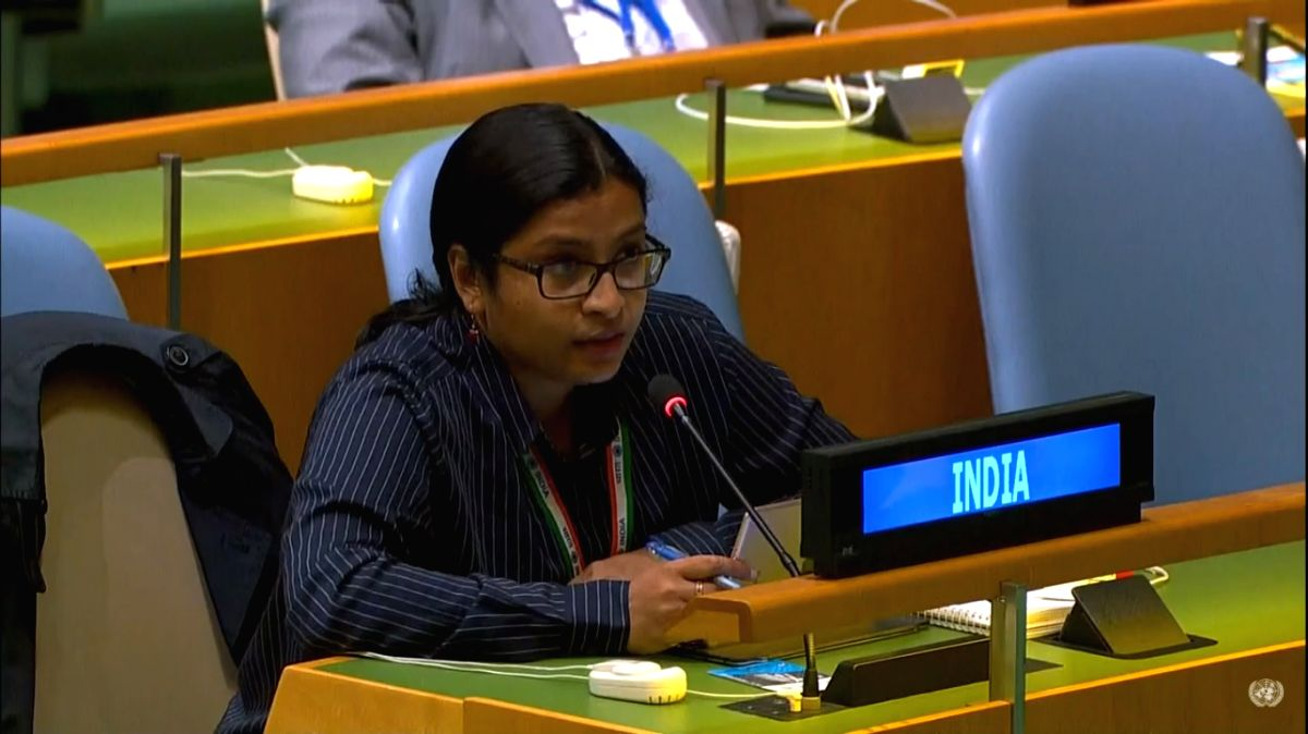 Vidisha Maitra, a First Secretary at India's Mission to the United Nations speaks at the UN General Assembly's 75th Anniversary Commemoration session on Monday, September 21, 2020, replying to Pakistan Foreign Minister Shah Mehmood Qureshi's statemen