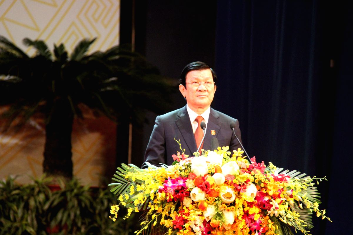 Vietnamese President Truong Tan Sang addresses a celebration marking the 70th anniversary of Vietnam People's Public Security in Hanoi, Vietnam, Aug. 18, 2015. ...