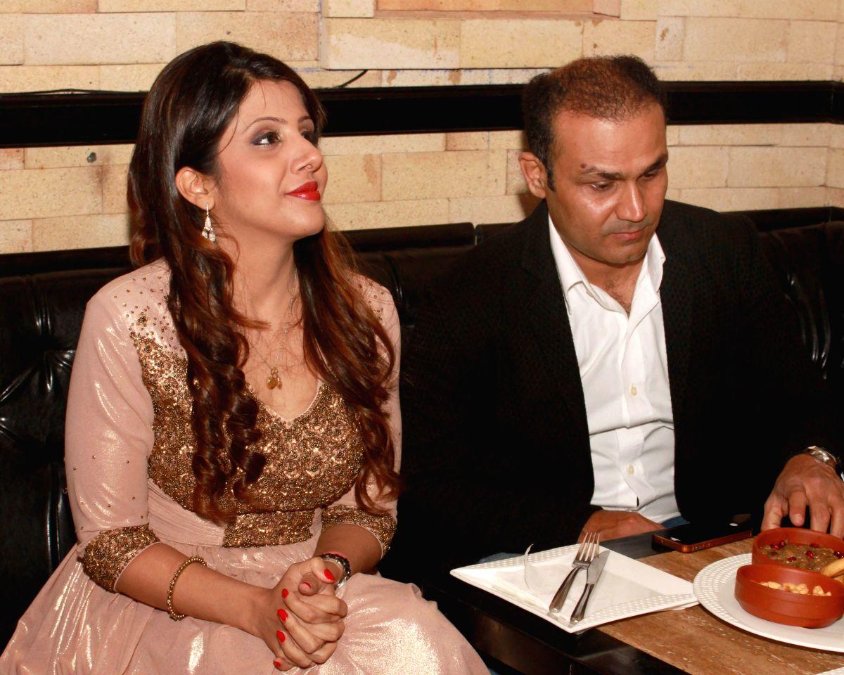 Virender Sehwag with his wife Aarti Sehwag . (File Photo: Amlan Paliwal/IANS)