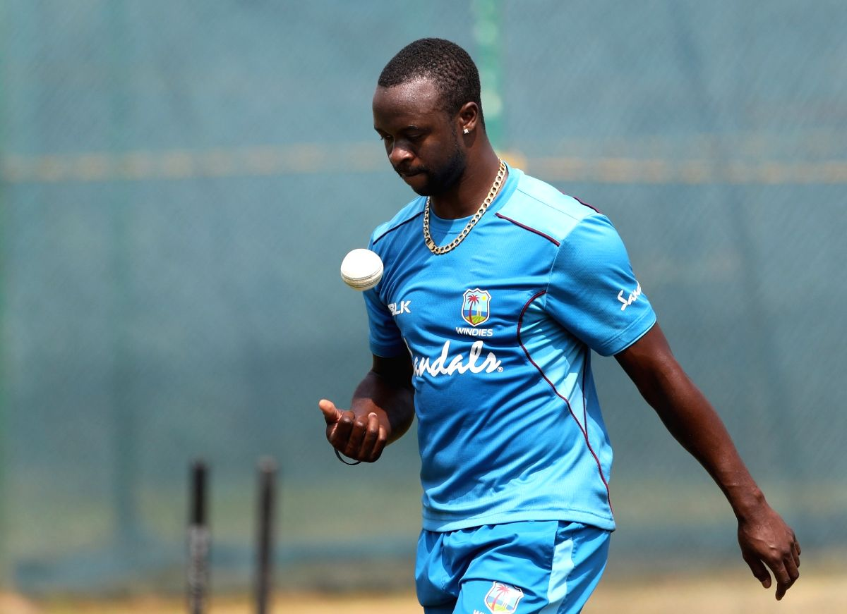 Visakhapatnam: Kemar Roach of West Indies during a practice session on the eve of second ODI match against India in Visakhapatnam, on Oct 23, 2018. (Photo: Surjeet Yadav/IANS)