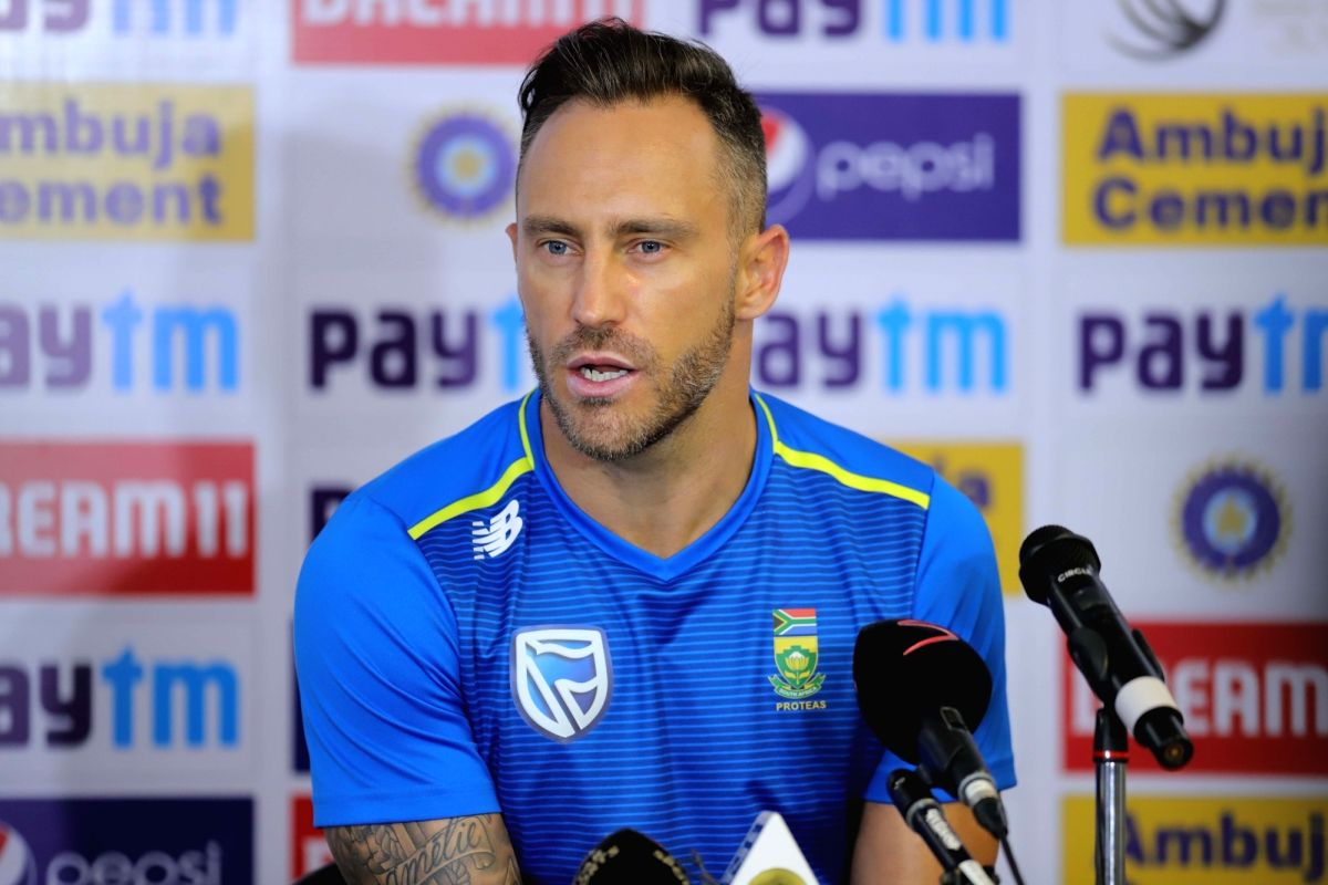 Visakhapatnam: South African captain Faf du Plessis addresses a press conference in Visakhapatnam on Oct 1, 2019.