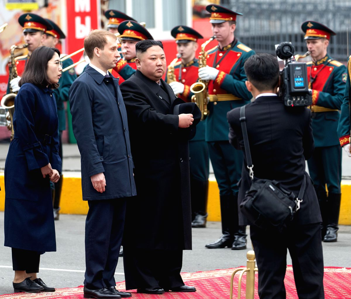 VLADIVOSTOK, April 24, 2019 (Xinhua) -- Top leader of the Democratic People's Republic of Korea (DPRK) Kim Jong Un attends the welcome ceremony in Vladivostok, Russia, April 24, 2019. Kim Jong Un arrived here in his train on Wednesday for his first m