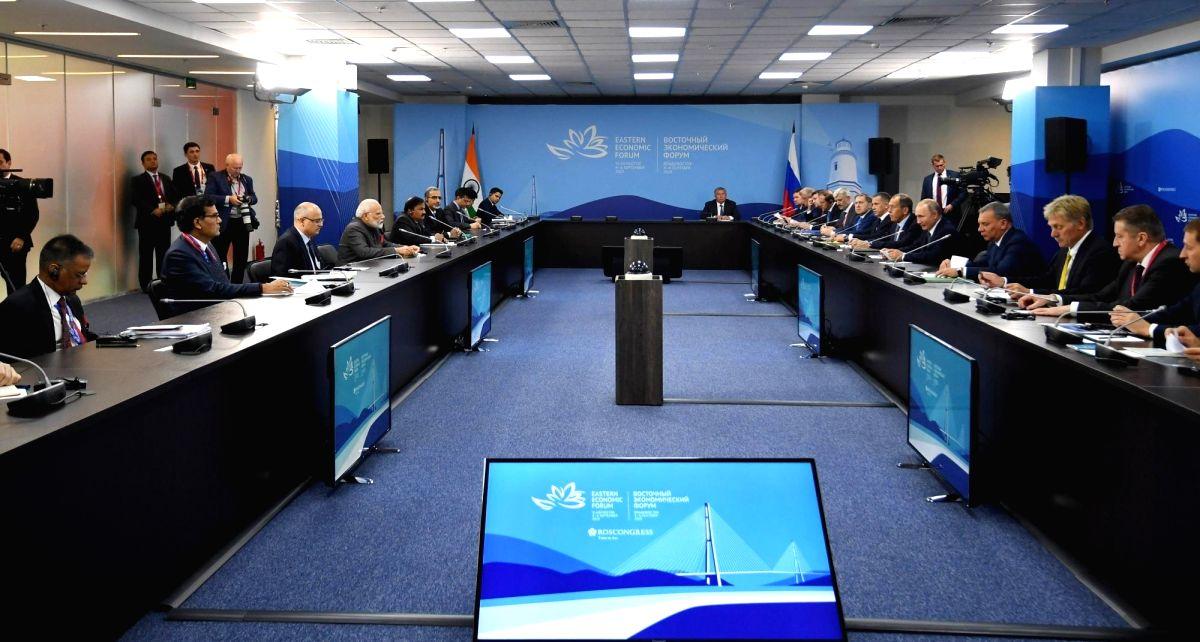 Vladivostok: Prime Minister Narendra Modi and Russian President Vladimir Putin during delegation level talks, in Vladivostok on Sep 4, 2019. (Photo: IANS/PIB)