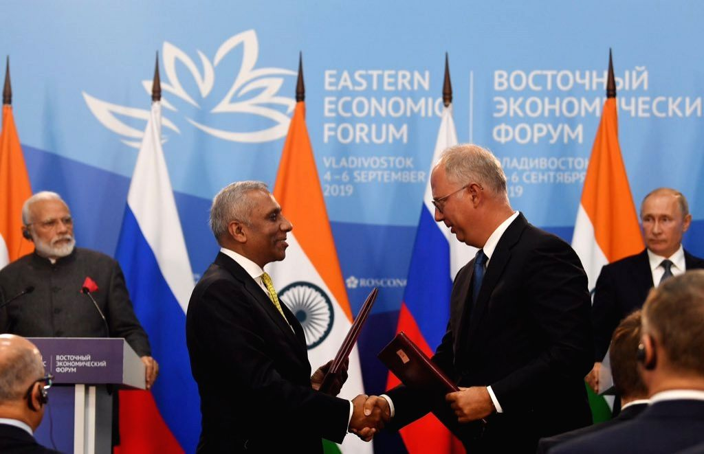 Vladivostok: Prime Minister Narendra Modi and Russian President Vladimir Putin witness the exchange of MoUs/Agreements ushering in new areas of cooperation including connectivity, deep sea exploration , space, energy among others, in Vladivostok on S