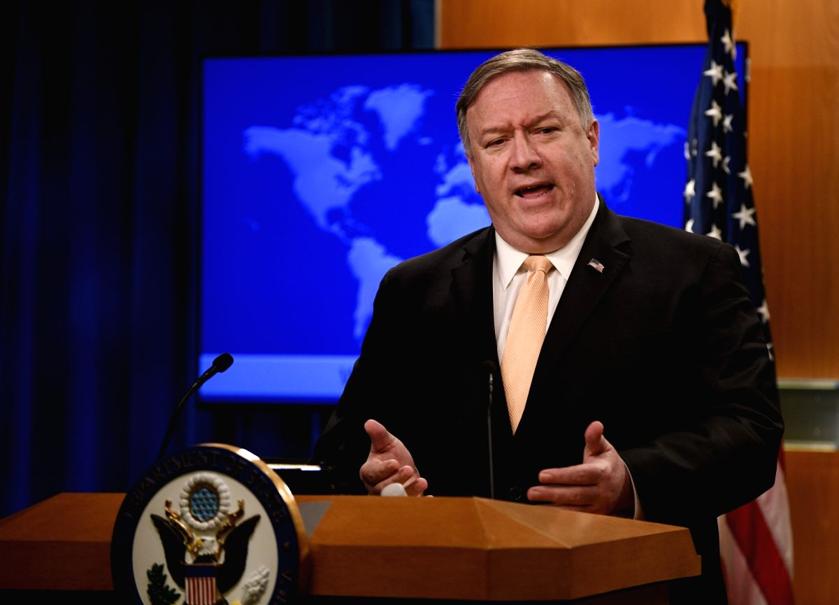 WASHINGTON, April 22, 2019 (Xinhua) -- U.S. Secretary of State Mike Pompeo speaks during a press briefing in Washington D.C., the United States, April 22, 2019. U.S. President Donald Trump has decided not to reissue the sanctions waivers allowing maj