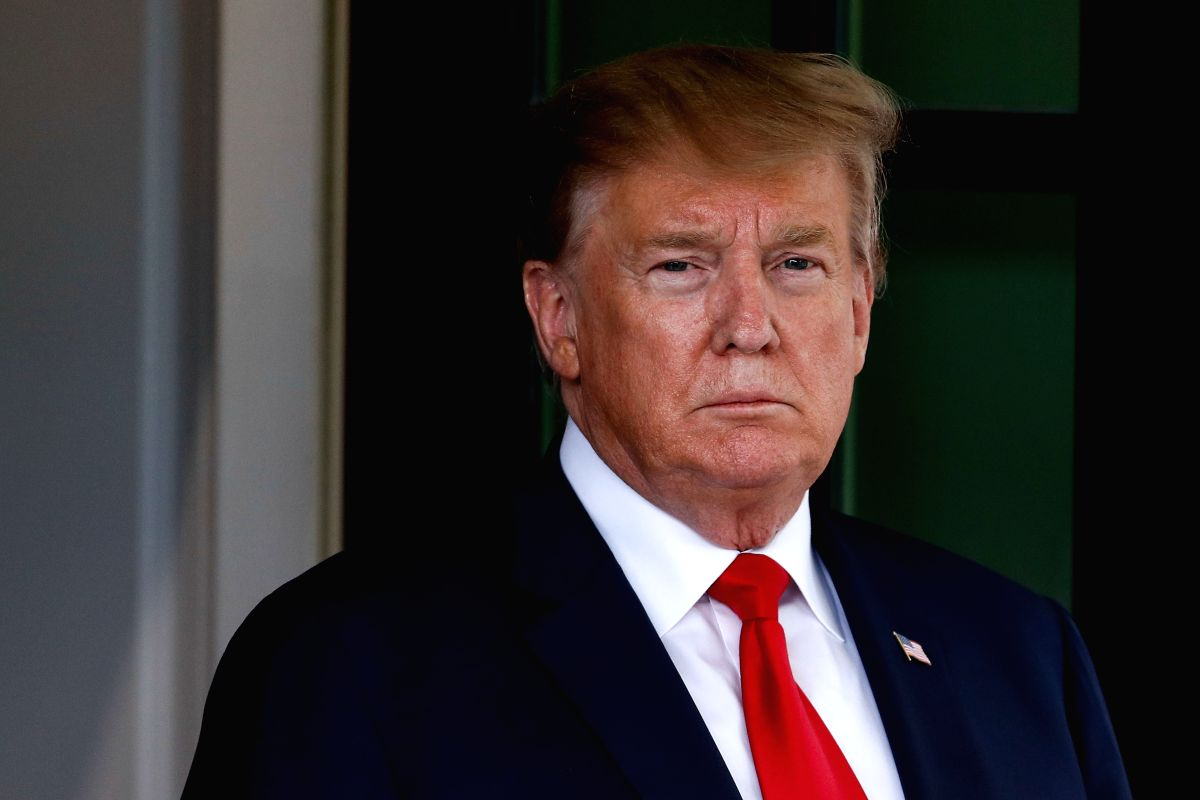 WASHINGTON, April 26, 2019 (Xinhua) -- U.S. President Donald Trump is pictured at the White House in Washington D.C., the United States, on April 26, 2019. Trump announced on Friday that the United States is withdrawing from an international arms tra