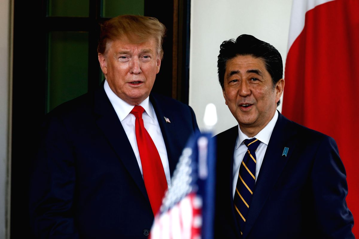 WASHINGTON D. C., April 27, 2019 (Xinhua) -- U.S. President Donald Trump (L) meets with Japanese Prime Minister Shinzo Abe at the White House in Washington D.C. April 26, 2019. (Xinhua/Ting Shen/IANS)
