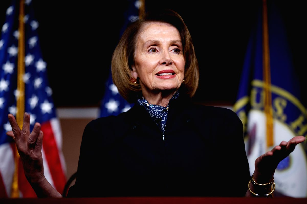 WASHINGTON D. C., Jan. 18, 2019 (Xinhua) --This file photo taken on Dec. 13, 2018 shows Nancy Pelosi speaking during a press conference on Capitol Hill in Washington D.C., the United States. U.S. President Donald Trump on Thursday told Speaker Nancy