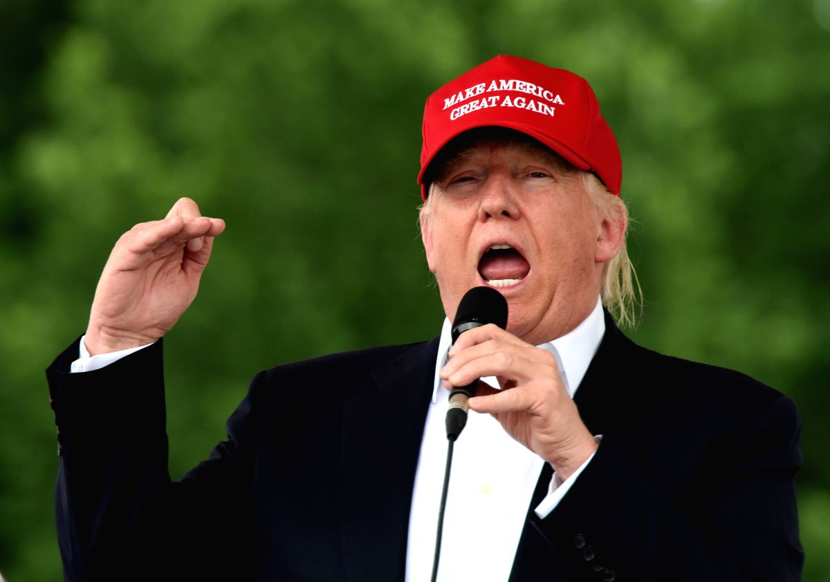 WASHINGTON D.C., June 2, 2016 (Xinhua) -- File photo taken on May 29, 2016 shows Donald Trump, the presumptive Republican presidential nominee, addressing motorcyclists participating in Rolling Thunder parade in Washington D.C., capital of the United