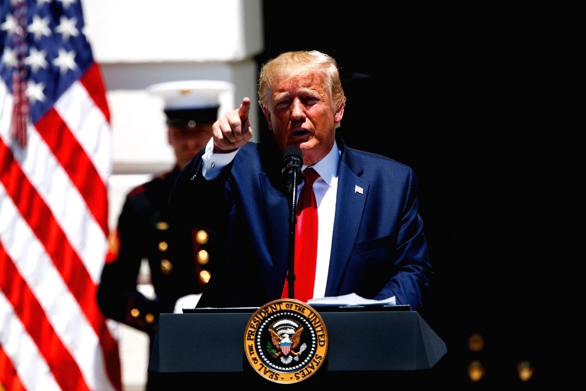 WASHINGTON, July 15, 2019 (Xinhua) -- U.S. President Donald Trump speaks during the 3rd annual Made in America product showcase at the White House in Washington D.C., the United States, July 15, 2019. Donald Trump ordered Monday that only products wi