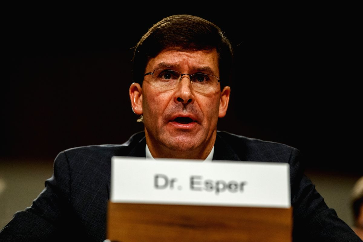 WASHINGTON, July 16, 2019 (Xinhua) -- U.S. Secretary of Defense nominee Mark Esper testifies before the Senate Armed Services Committee during his confirmation hearing on Capitol Hill in Washington D.C., the United States, on July 16, 2019. (Xinhua/T