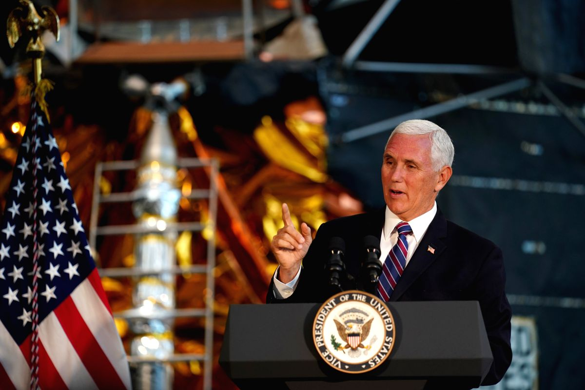 WASHINGTON, July 16, 2019 (Xinhua) -- U.S. Vice President Mike Pence speaks at the unveiling ceremony of U.S. astronaut Neil Armstrong's Apollo 11 spacesuit at the Smithsonian National Air and Space Museum in Washington D.C., the United States, July