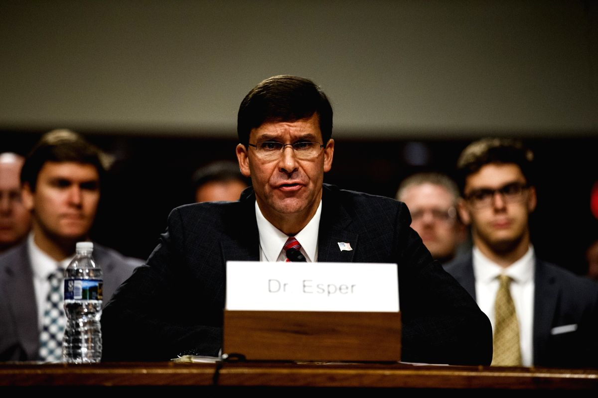 WASHINGTON, July 23, 2019 (Xinhua) -- The photo taken on July 16, 2019 shows U.S. Secretary of Defense nominee Mark Esper attending a Senate Armed Services Committee confirmation hearing on Capitol Hill in Washington D.C., the United States. The U.S.