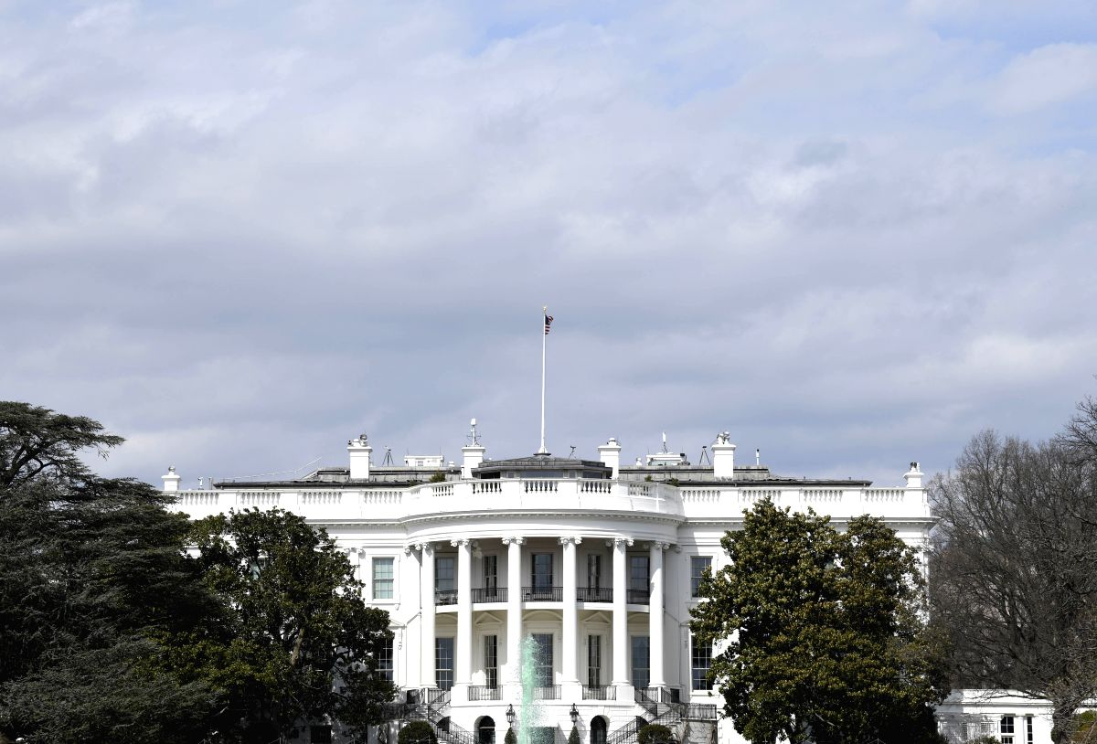 WASHINGTON, March 15, 2019 (Xinhua) -- Photo taken on March 15, 2019 shows the White House in Washington D.C., the United States. U.S. President Donald Trump Friday vetoed a bill blocking his national emergency declaration at the southern border, the
