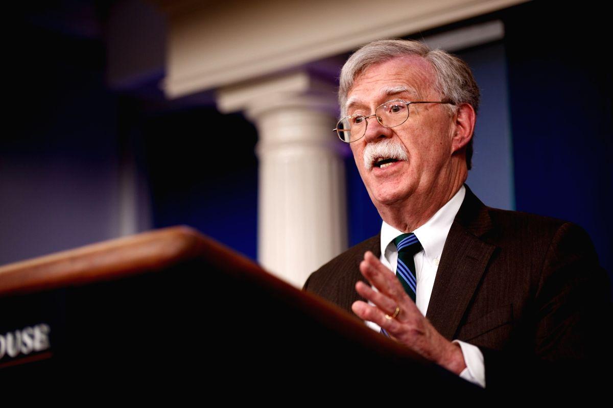 WASHINGTON, Nov. 27, 2018 (Xinhua) -- U.S. National Security Advisor John Bolton speaks at a press briefing at the White House in Washington D.C., the United States, on Nov. 27, 2018. John Bolton said on Tuesday that U.S. President Donald Trump and S