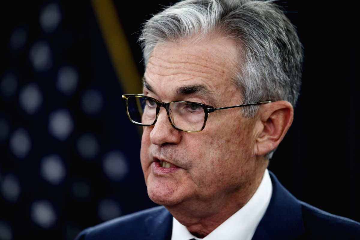 WASHINGTON, Oct. 30, 2019 (Xinhua) -- U.S. Federal Reserve Chairman Jerome Powell speaks during a press conference in Washington D.C., the United States, on Oct. 30, 2019. U.S. Federal Reserve on Wednesday lowered interest rates by 25 basis points am