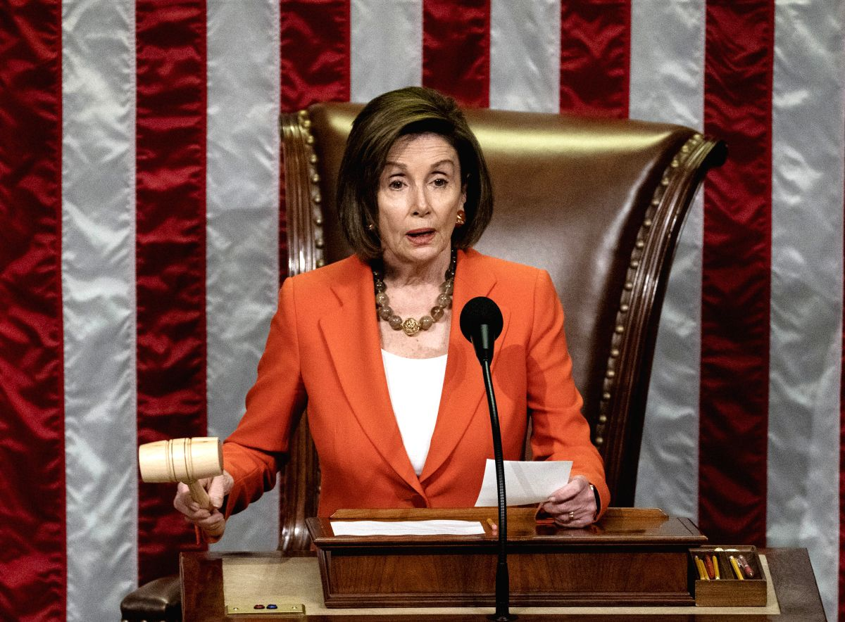 WASHINGTON, Oct. 31, 2019 (Xinhua) -- U.S. House Speaker Nancy Pelosi presides over a vote by the House of Representatives on a resolution formalizing an impeachment inquiry into President Donald Trump, on Capitol Hill in Washington D.C., the United