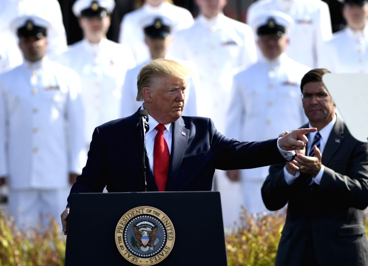 WASHINGTON, Sept. 11, 2019 (Xinhua) -- U.S. President Donald Trump (Front) participates in a ceremony marking the 18th anniversary of the 9/11 attacks at the Pentagon in Arlington, Virginia, the United States, on Sept. 11, 2019. (Xinhua/Liu Jie/IANS)