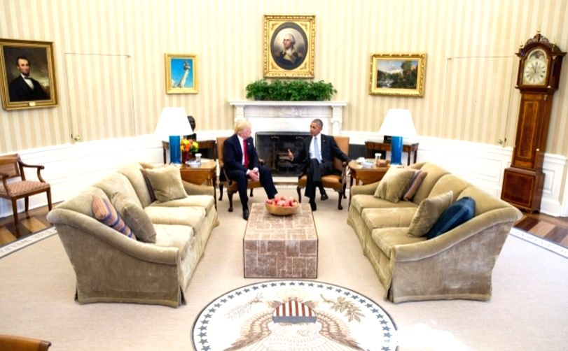 Washington: US President-elect Donald Trump meets US President Barack Obama at Oval Office of White House in Washington D.C.. (Photo Credit: White House/IANS)