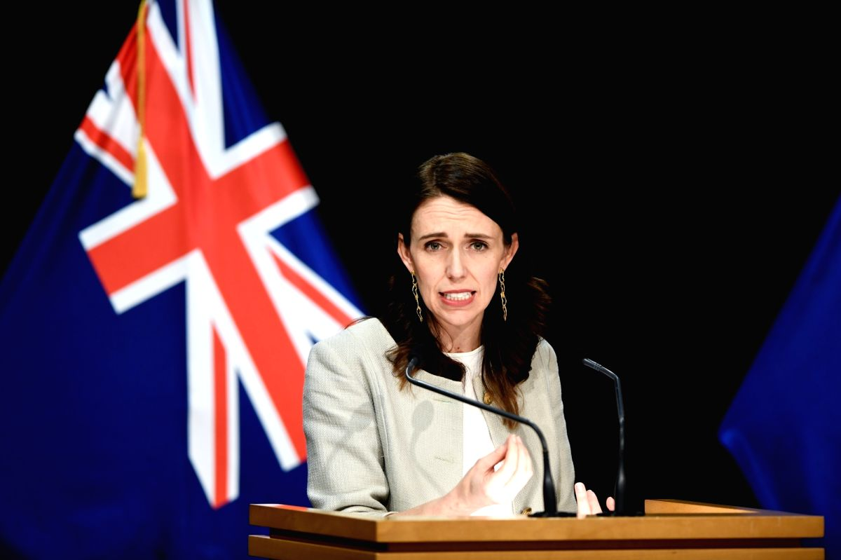 WELLINGTON, Aug. 14, 2020 (Xinhua) -- New Zealand Prime Minister Jacinda Ardern speaks during a press conference in Wellington, New Zealand, Aug. 14, 2020.   New Zealand's largest city Auckland will remain in COVID-19 Alert Level 3 for 12 more days,