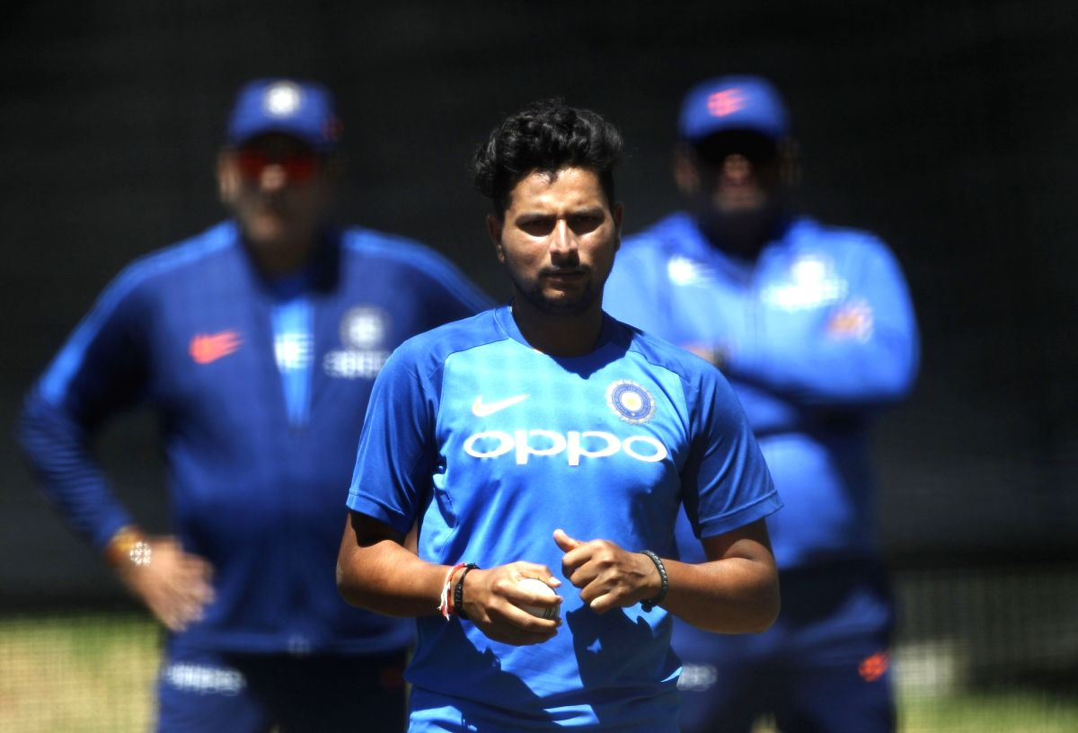 India's Kuldeep Yadav during a practice session