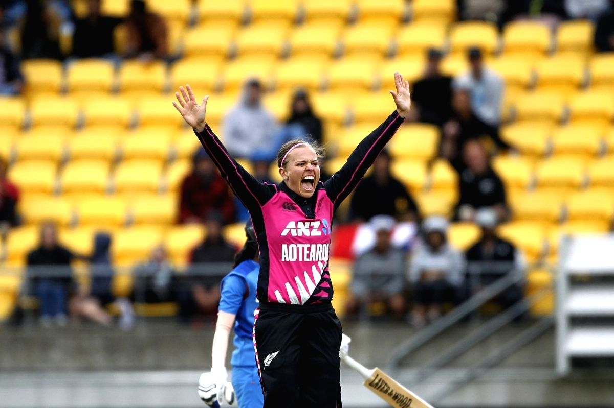 Wellington (New Zealand): New Zealand's Lea Tahuhu celebrates the wicket of Jemimah Rodrigues during the first women's Twenty20 International match between India and New Zealand at Westpac Stadium in Wellington, New Zealand on Feb 6, 2019. (Photo: Su