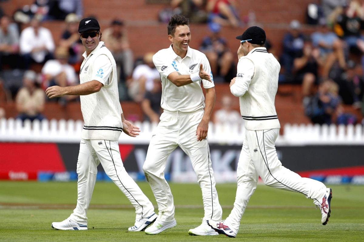 Wellington: New Zealand's Trent Boult celebrates the wicket of Mayank Agarwal during the first Test between New Zealand and India at Basin Reserve cricket stadium in Wellington, New Zealand on Feb. 21, 2020. (Photo: Surjeet Yadav/IANS)