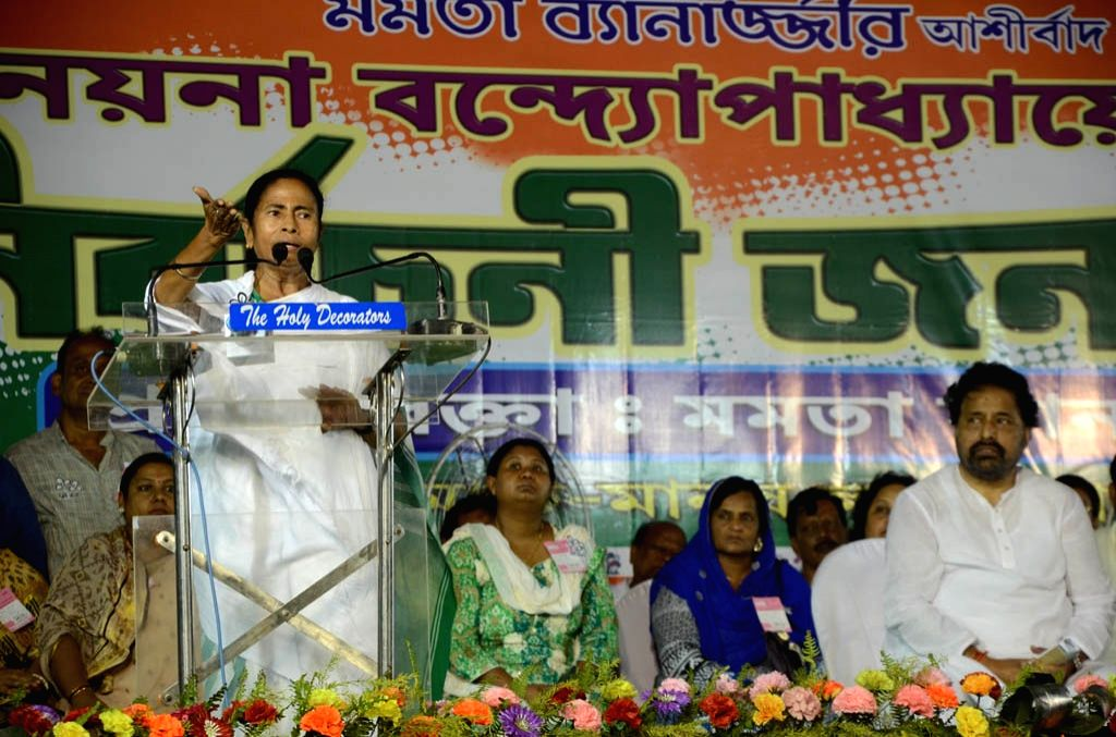 West Bengal Chief Minister and Trinamool Congress supremo Mamata Banerjee during a party rally in Kolkata, on April 17, 2016.