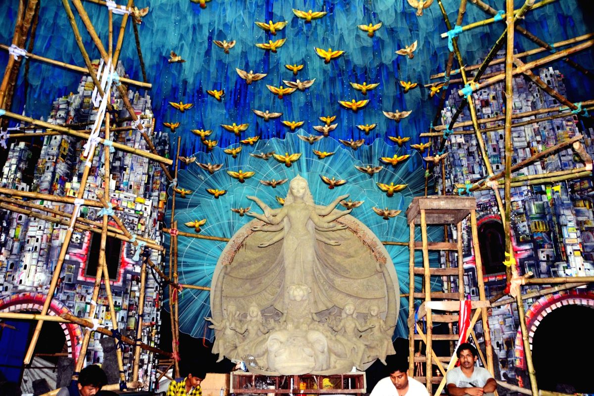 Pandal decorations are in full swing at this Durga Puja celebration site