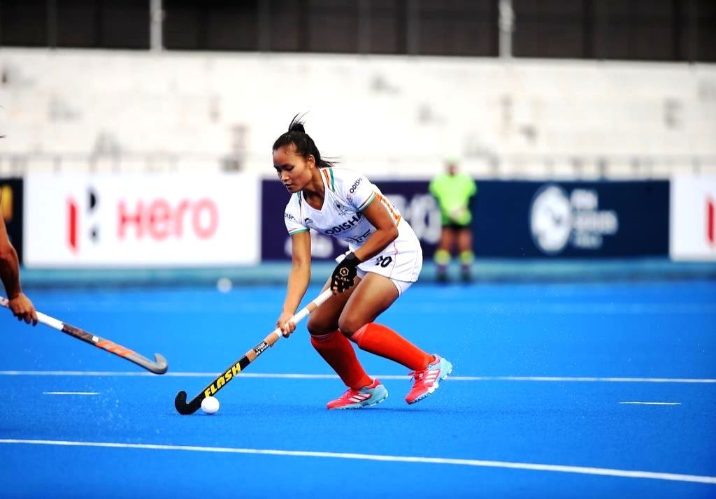 Young Forward Lalremsiami in action for the Indian Women's Hockey team.