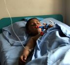 Kabul (Afghanistan): Child receives treatment following a suicide bombing