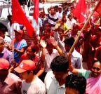 Agartala: CPI-M supporters celebrates Tripura TTAADC elections win