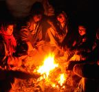 Amritsar: People warm themselves around a fire