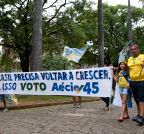 Belo Horizonte: Supporters of Brazilian presidential candidate Aecio Neves participate in a rally