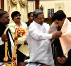 Bengaluru: Karnataka CM felicitates  Sanchari Vijay