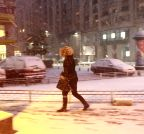 Bucharest: A woman walks in the snow in Bucharest