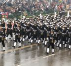 New Delhi: Women Naval officers march during Republic Day Parade for the first time