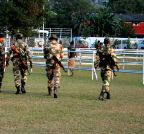 Guwahati: Security personnel guard NF Railway Stadium