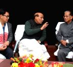 Guwahati: Tarun Gogoi, Rajnath Singh during a meeting