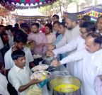 Hyderabad: Asaduddin Owaisi at the  launch of a food scheme