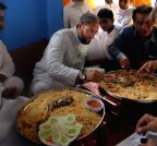 Hyderabad: Asaduddin Owaisi enjoys biryani